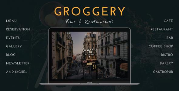 Groggery - Responsive Bar & Restaurant WordPress Theme - Restaurants & Cafes Entertainment