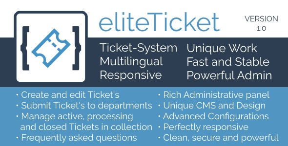 CodeCanyon eliteTicket Awesome Ticket System 20921978