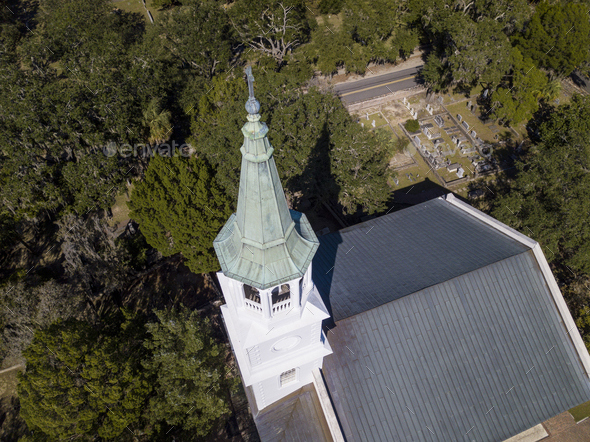 Aerial view of church and steeple in Beaufort, South Carolina - Stock Photo - Images