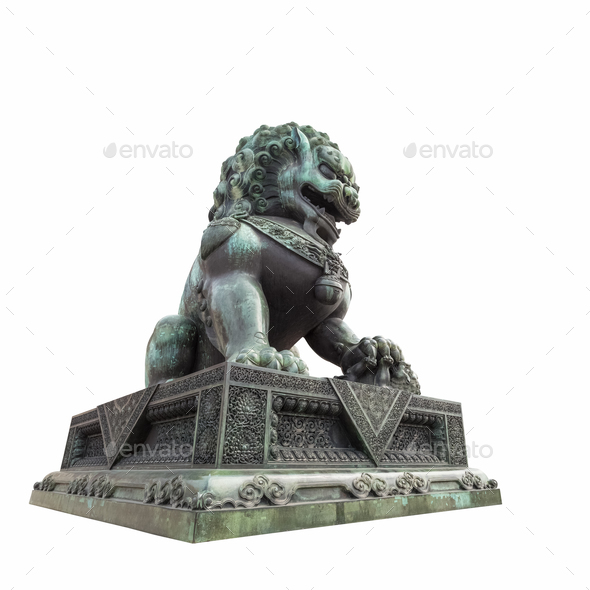 bronze lion statue isolated - Stock Photo - Images
