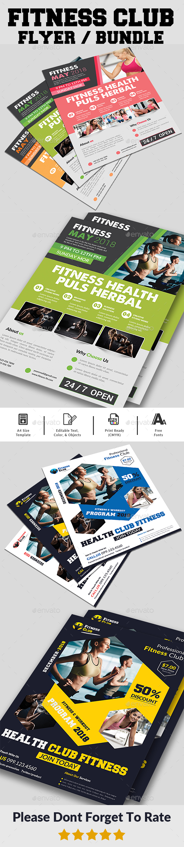 GraphicRiver Fitness Flyers Bundle 20999381