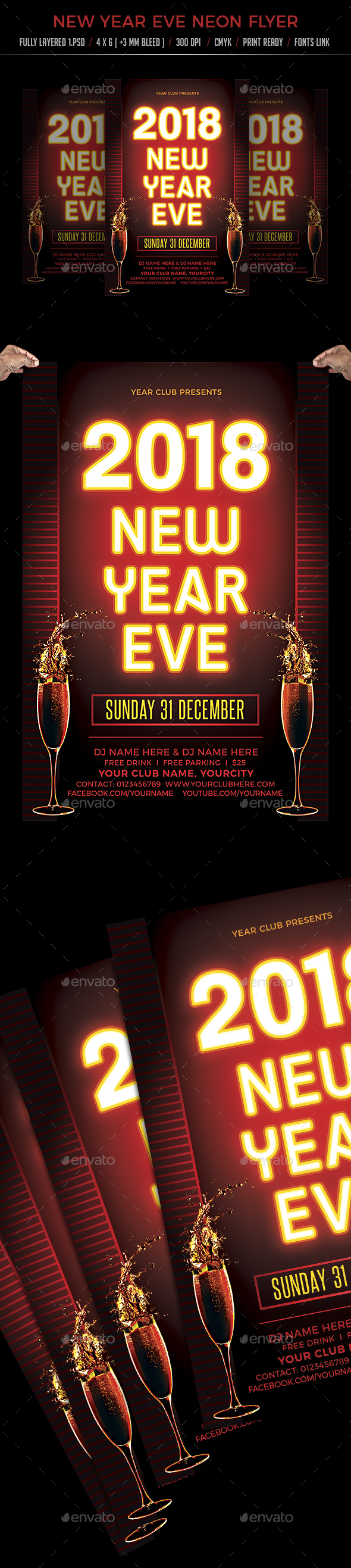 New Year Eve Neon Flyer - Flyers Print Templates