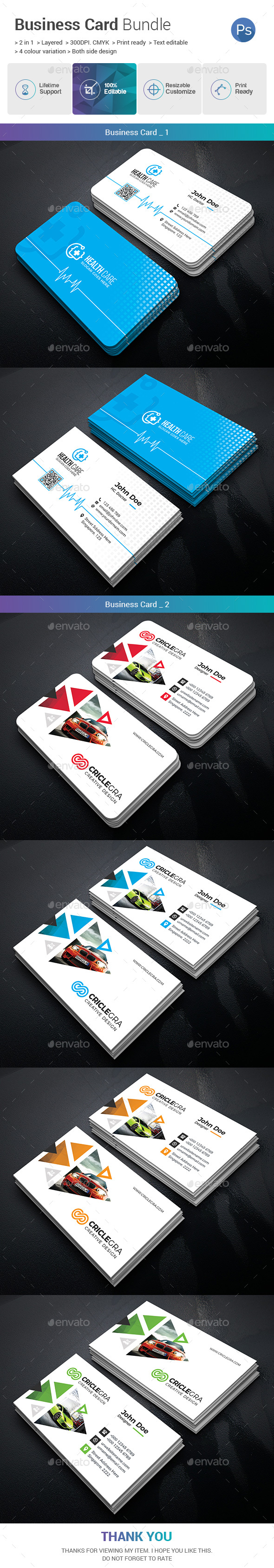 Business Card Bundle 2 in 1 - Business Cards Print Templates