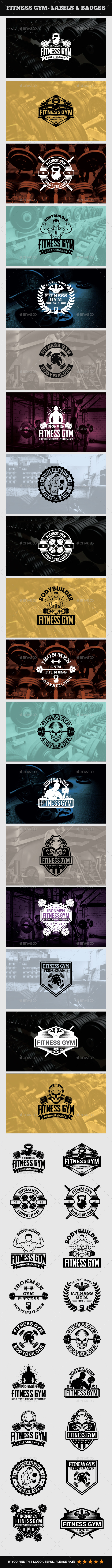Fitness Gym - Labels & Badges - Badges & Stickers Web Elements