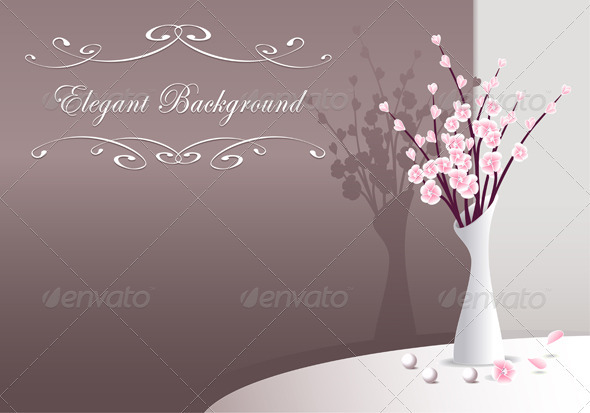 Elegant Background with flowers in vase and pearls - Backgrounds Decorative