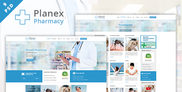 Pharmacy hospital and medical psd template by webplanex for Hospital menu template