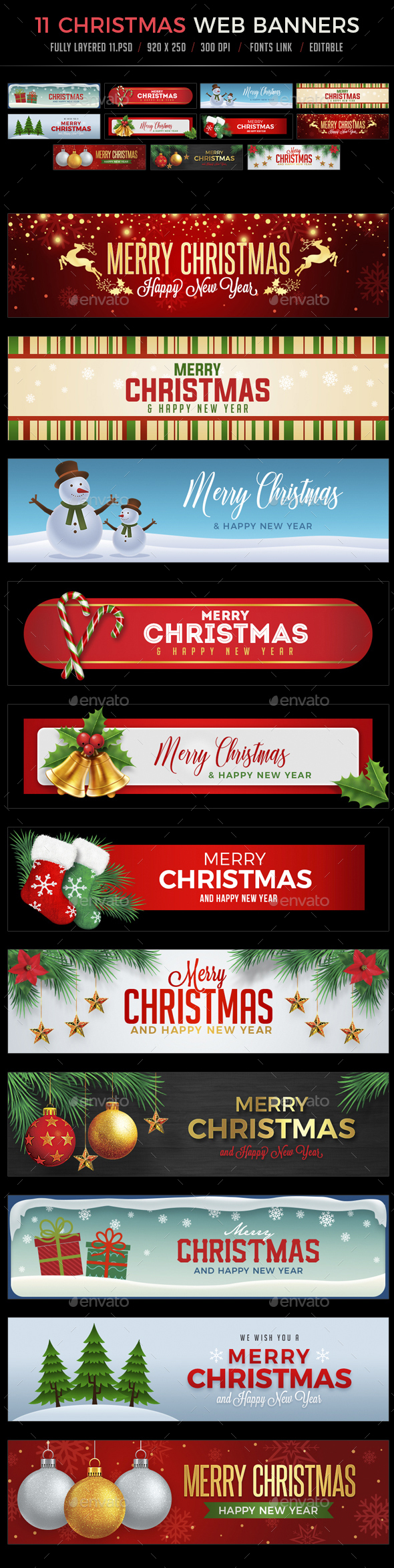 11 Christmas Web Banners - Banners & Ads Web Elements