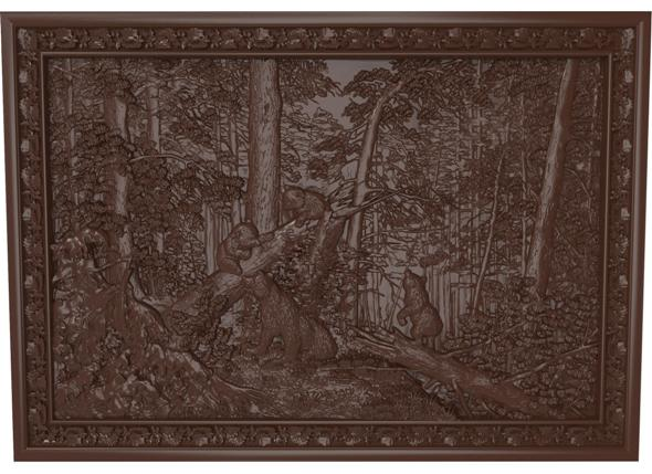 3DOcean Morning in a Pine Forest bears Bas relief 21001764