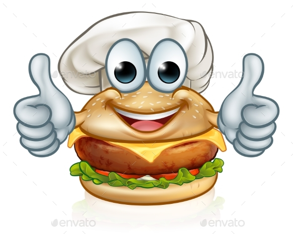 Burger Chef Food Cartoon Character Mascot - Food Objects