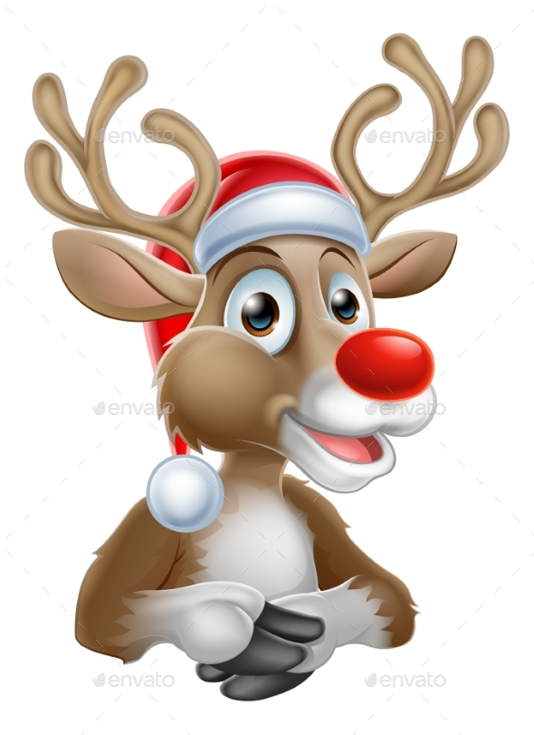 Christmas Reindeer Cartoon with Santa Hat - Christmas Seasons/Holidays
