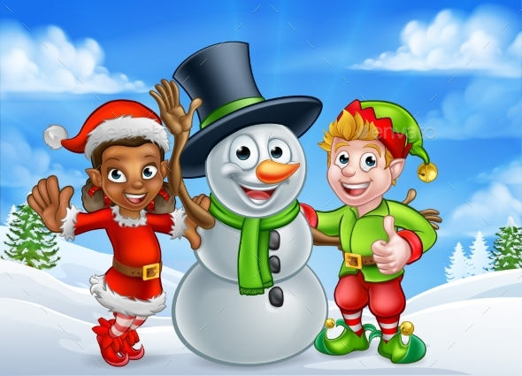 Cartoon Christmas Snowman and Santa Helpers - Christmas Seasons/Holidays