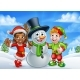 Cartoon Christmas Snowman and Santa Helpers
