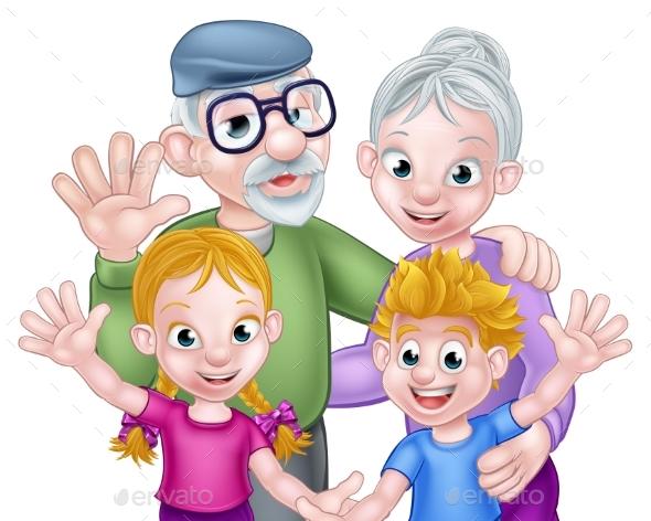 GraphicRiver Cartoon Grandparents and Grandchildren 21001823