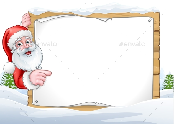 Santa Claus Christmas Sign Background - Christmas Seasons/Holidays