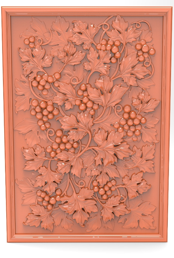 3DOcean Grape with leaves bas relief for CNC 21001864