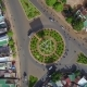 Overhead Aerial View of the Circular Shaped Road, Located in Vietnam.