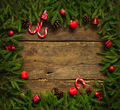 Christmas border with fir tree branches, cones, christmas decora