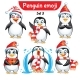 Vector Set of Christmas Penguin Characters. Set 5