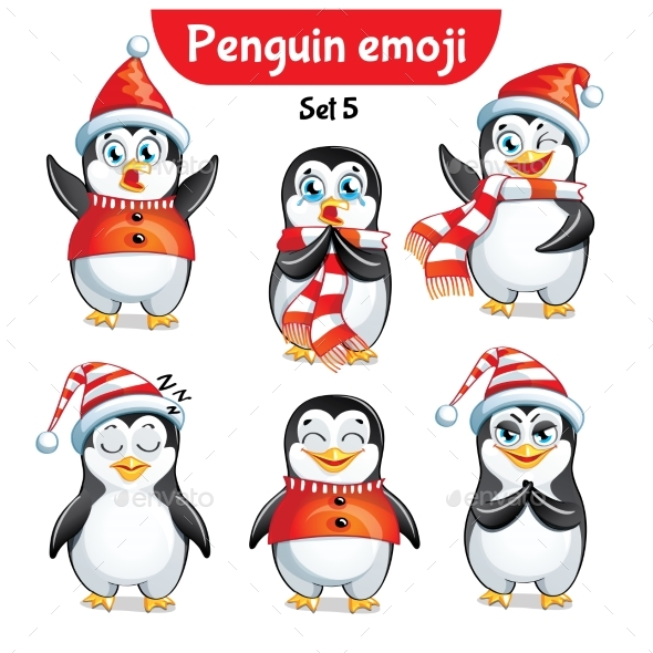GraphicRiver Vector Set of Christmas Penguin Characters Set 3 21002092