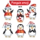 Vector Set of Christmas Penguin Characters. Set 3