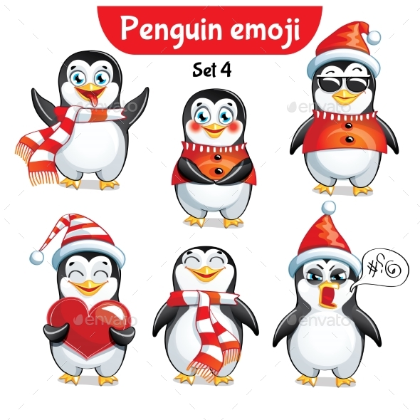 Vector Set of Christmas Penguin Characters. Set 4 - Christmas Seasons/Holidays