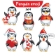 Vector Set of Christmas Penguin Characters. Set 4
