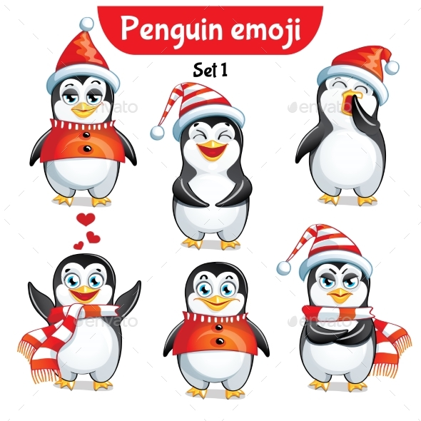 GraphicRiver Vector Set of Christmas Penguin Characters Set 1 21002098