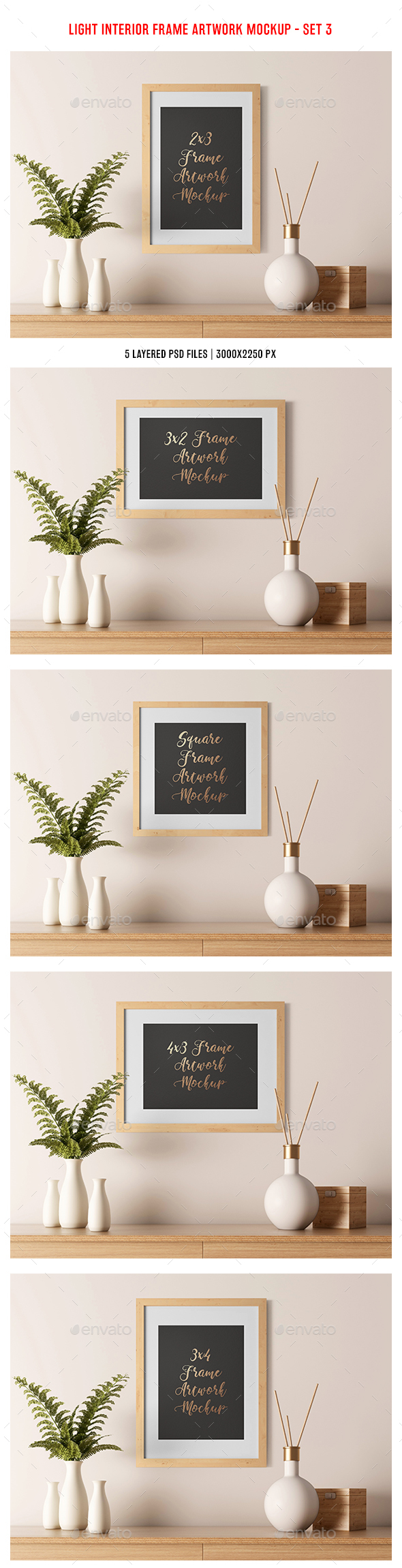 Light Interior Frame Artwork Mockup - Set 3 - Posters Print