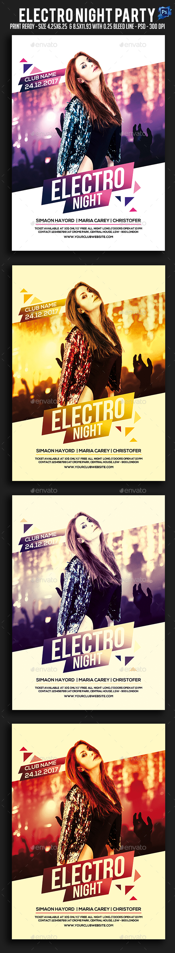 GraphicRiver Electro Night Party Flyer 21002241