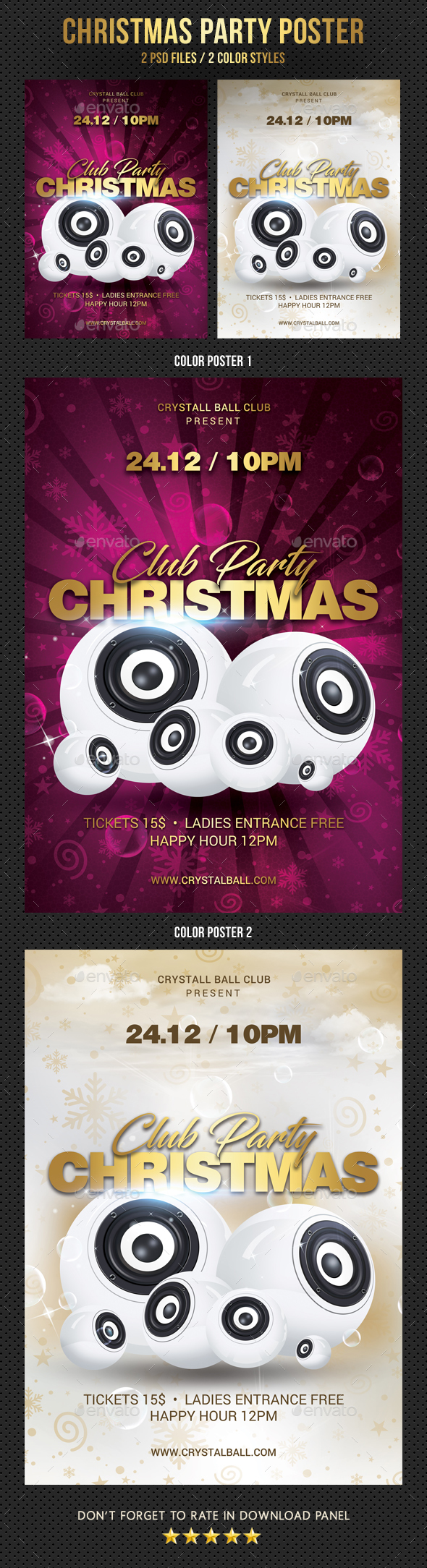 Christmas Club Party Poster - Signage Print Templates