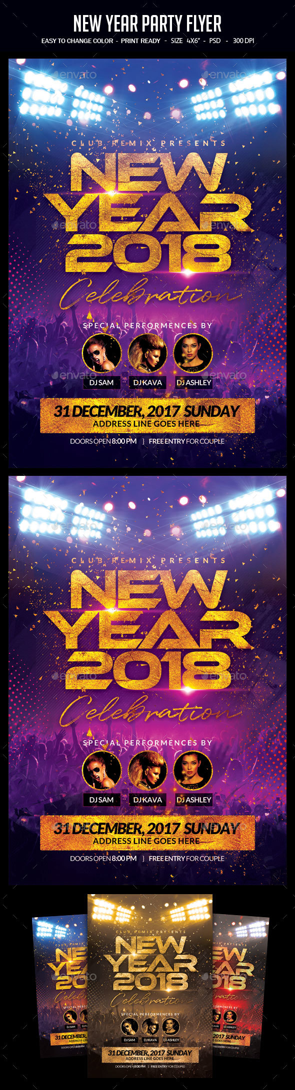 GraphicRiver New Year Party Flyer 21002287