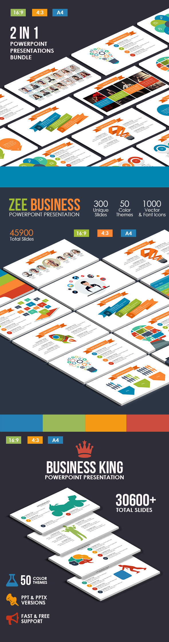 2 In 1 - Pro Pitch Deck Powerpoint Bundle - Business PowerPoint Templates