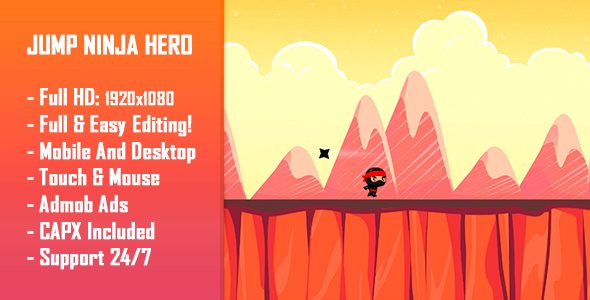 CodeCanyon Jump Ninja Hero HTML5 Game & Mobile Version Construct-2 CAPX 21002454