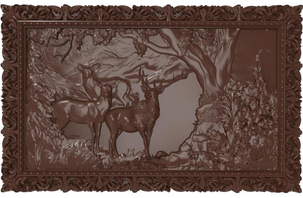 Deers on lawn Bas relief for CNC - 3DOcean Item for Sale