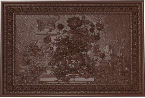 3DOcean Flowers composition in the frame bas relief for CNC 21002486