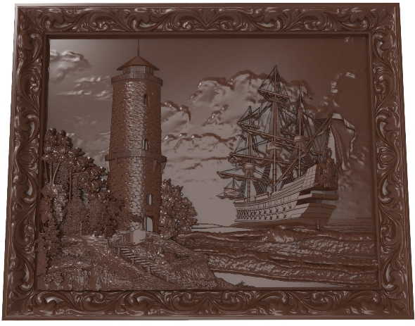 3DOcean Lighthouse and sailboat bas relief for CNC 21002511