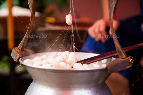 Silk Cocoons Boiling In Large Pot - Stock Photo - Images