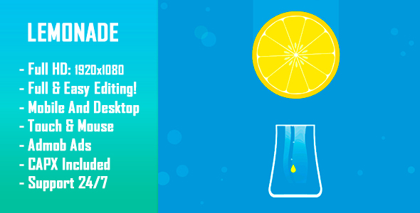 CodeCanyon Lemonade HTML5 Game & Mobile Version Construct-2 CAPX 21002599