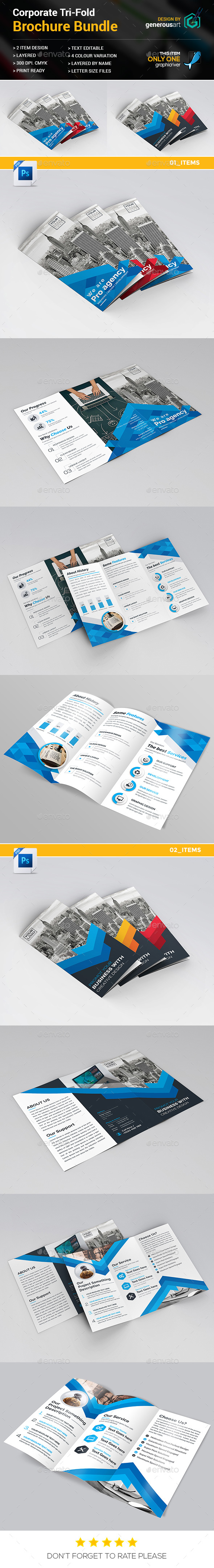Tri-fold Bundle_2 in 1 - Brochures Print Templates
