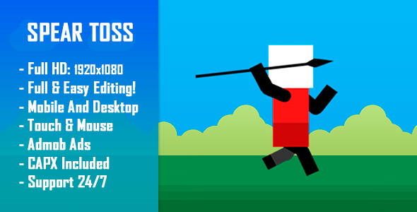 CodeCanyon Spear Toss Challenge HTML5 Game & Mobile Version Construct-2 CAPX 21002650