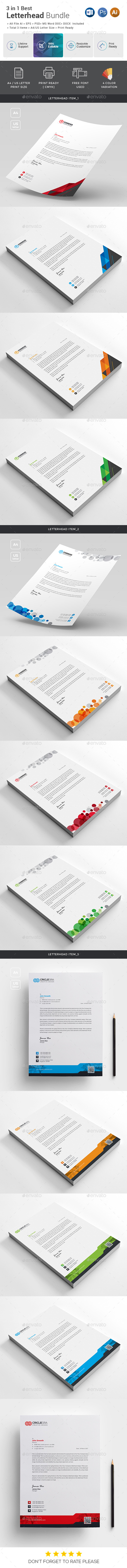 Letterhead Bundle_ 3 in 1 - Stationery Print Templates