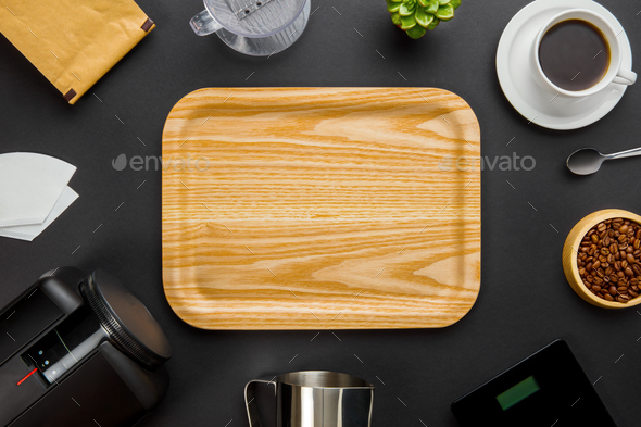 Wooden Tray Surrounded By Coffee Making Equipment On Gray Backgr - Stock Photo - Images