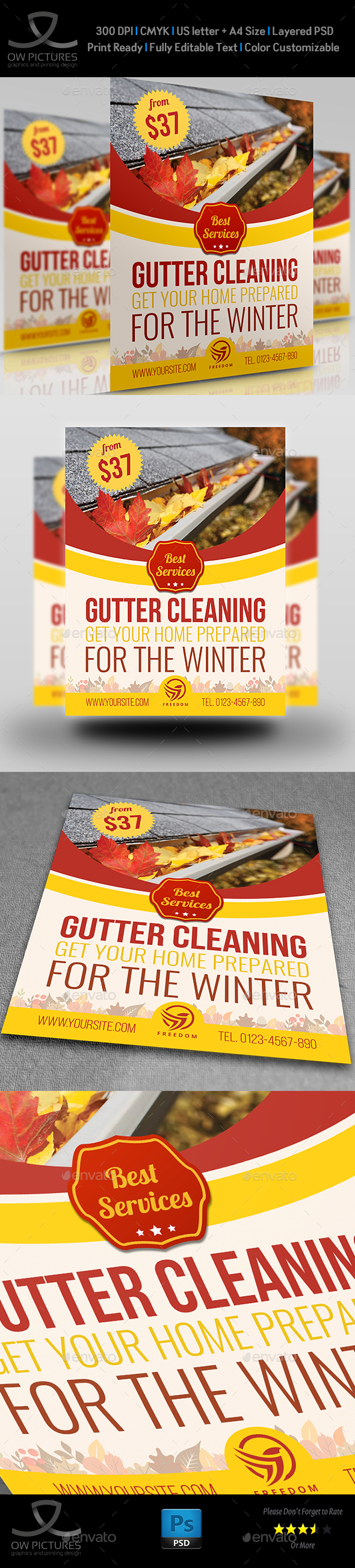 GraphicRiver Gutter Cleaning Services Flyer Template 21003083