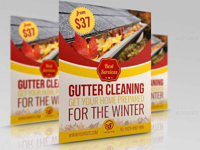 gutter cleaning services flyer template by owpictures