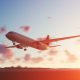 The Plane Landing to Rockland in USA at Sunset - VideoHive Item for Sale