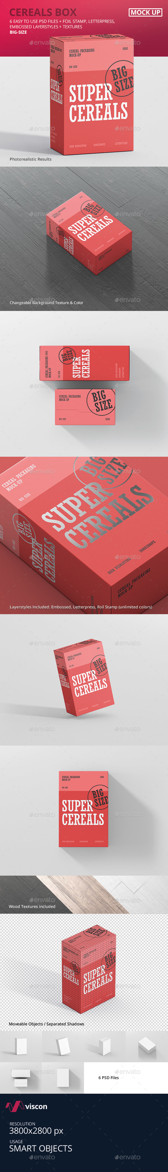 Cereals Box Mockup - Big Size - Food and Drink Packaging