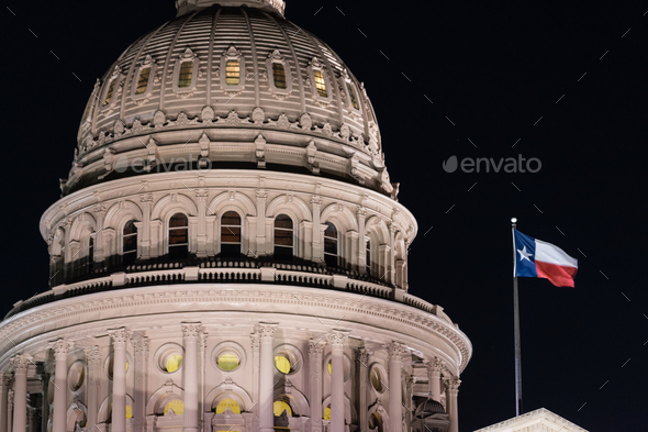 Flags Fly Night Falls Austin Texas Capital Building Motion - Stock Photo - Images