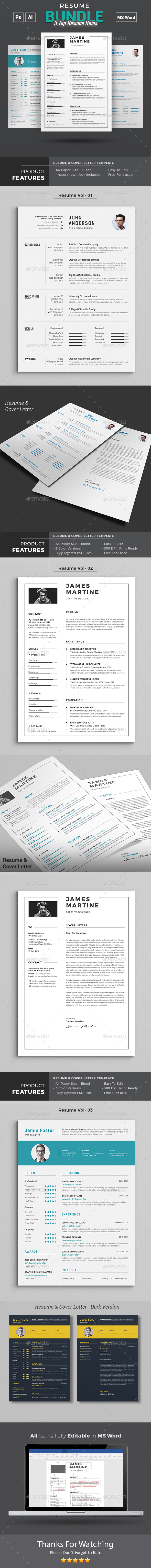 GraphicRiver Resume Word Bundle 20972455