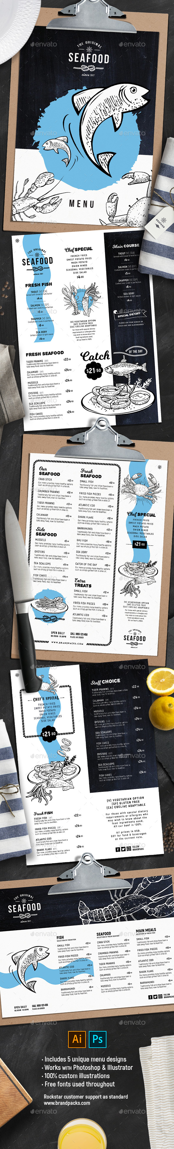 Seafood Menu Templates - Food Menus Print Templates