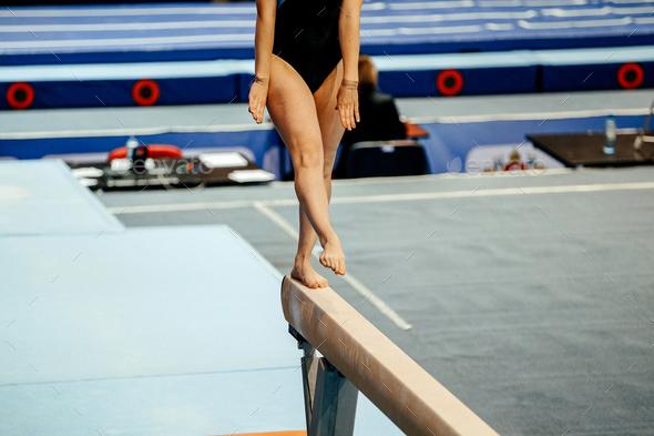 balance beam woman gymnast - Stock Photo - Images